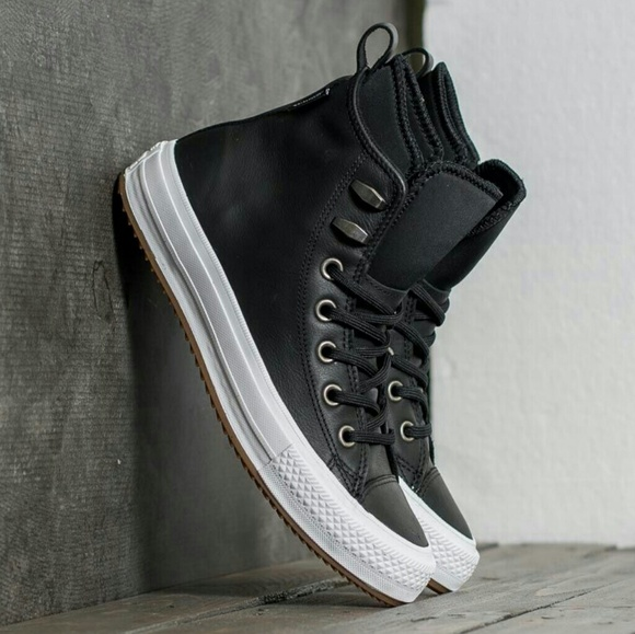 Sale Converse Waterproof Black Leather